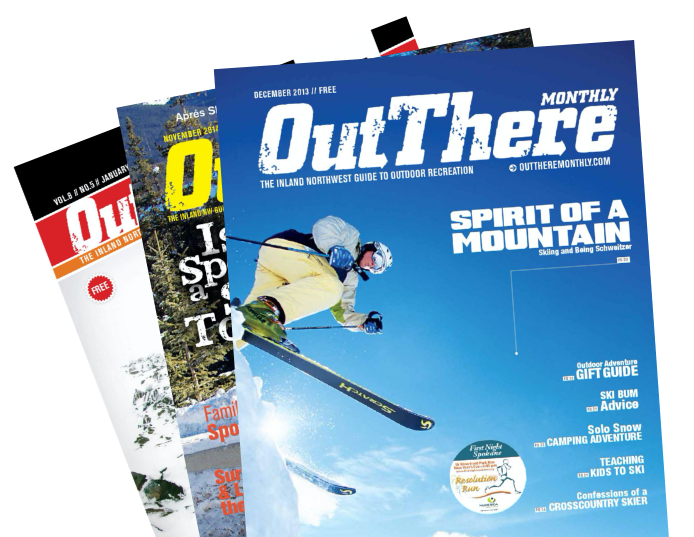 Stack of Out There Outdoors Magazines.
