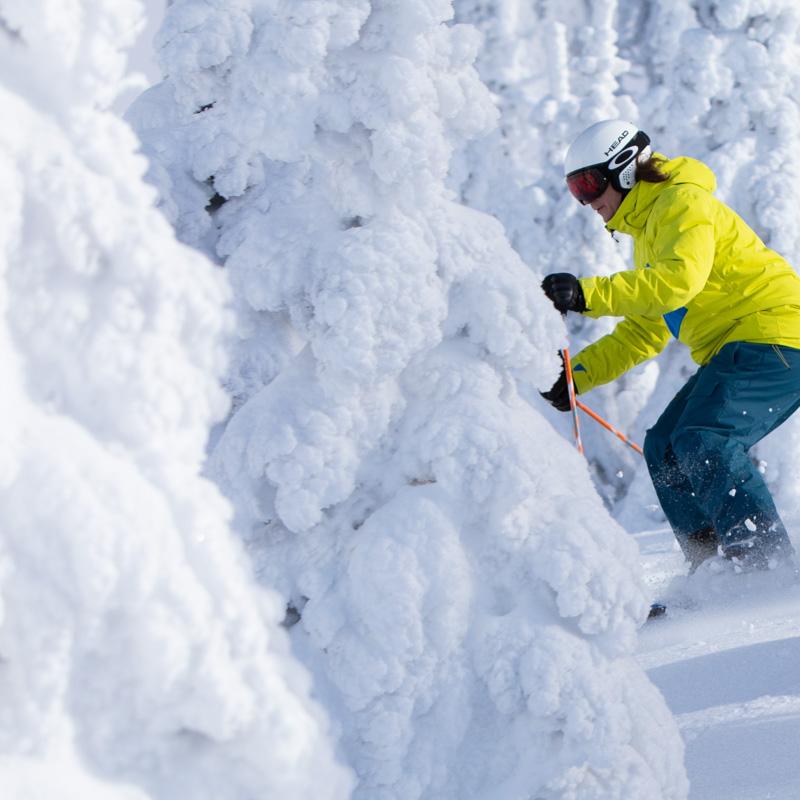 Man skiing past frozen trees on the mountain.