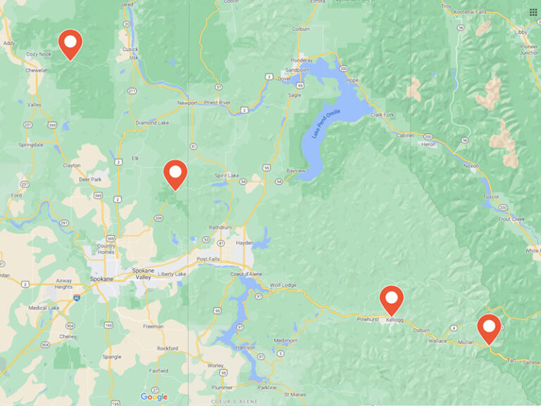 map of ski locations around Spokane.