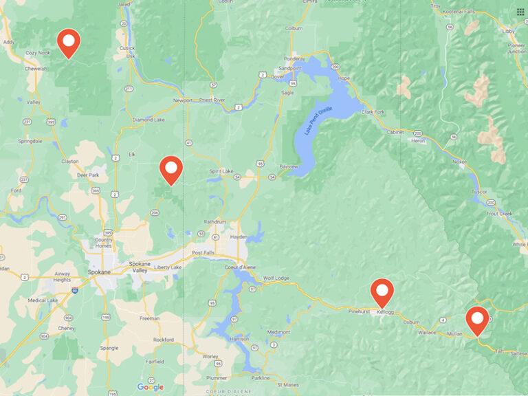 map of ski locations around Spokane.