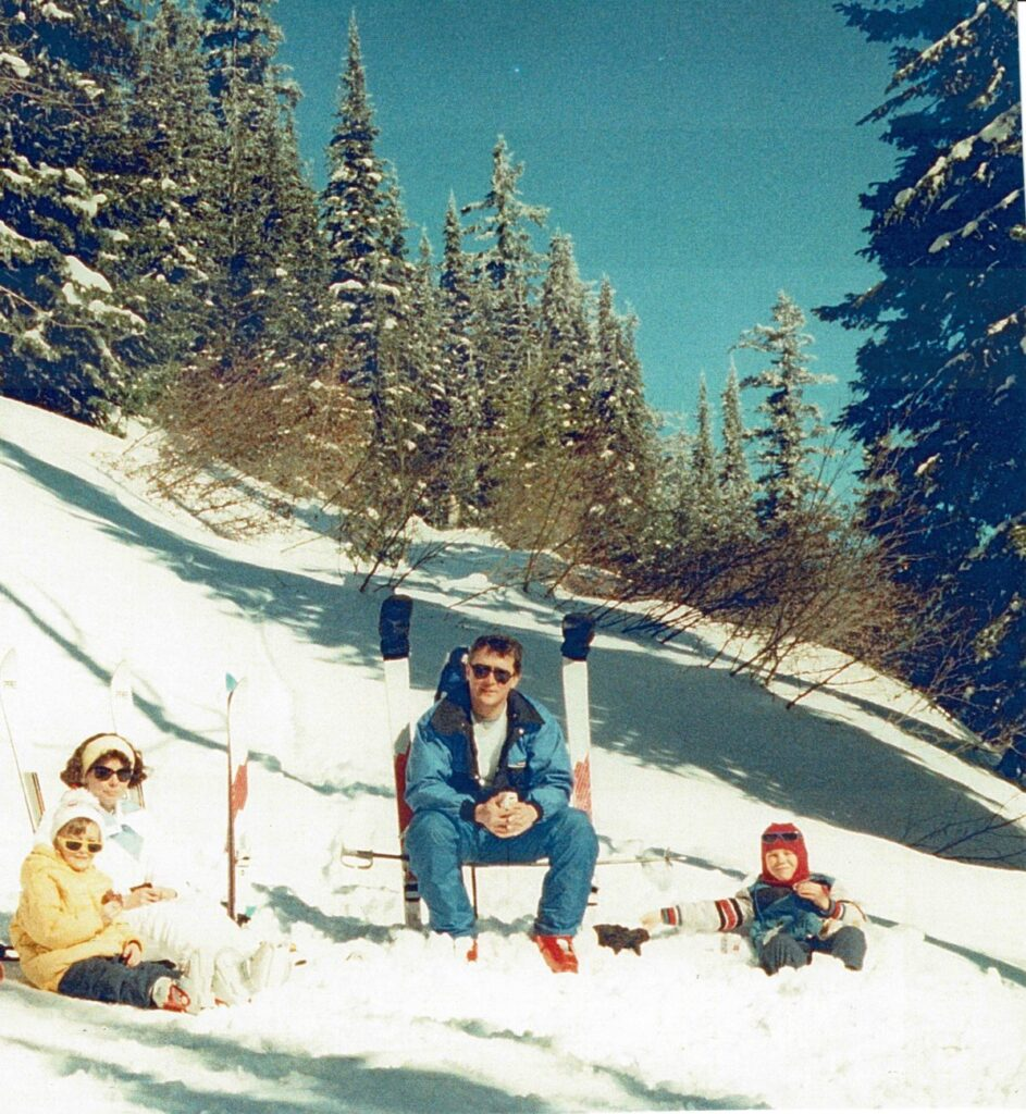 Dana, Kim, Craig, and Mike at Mt. Spokane, 1988, on Swede's Folly run. // Photo courtesy of Kim Lukes