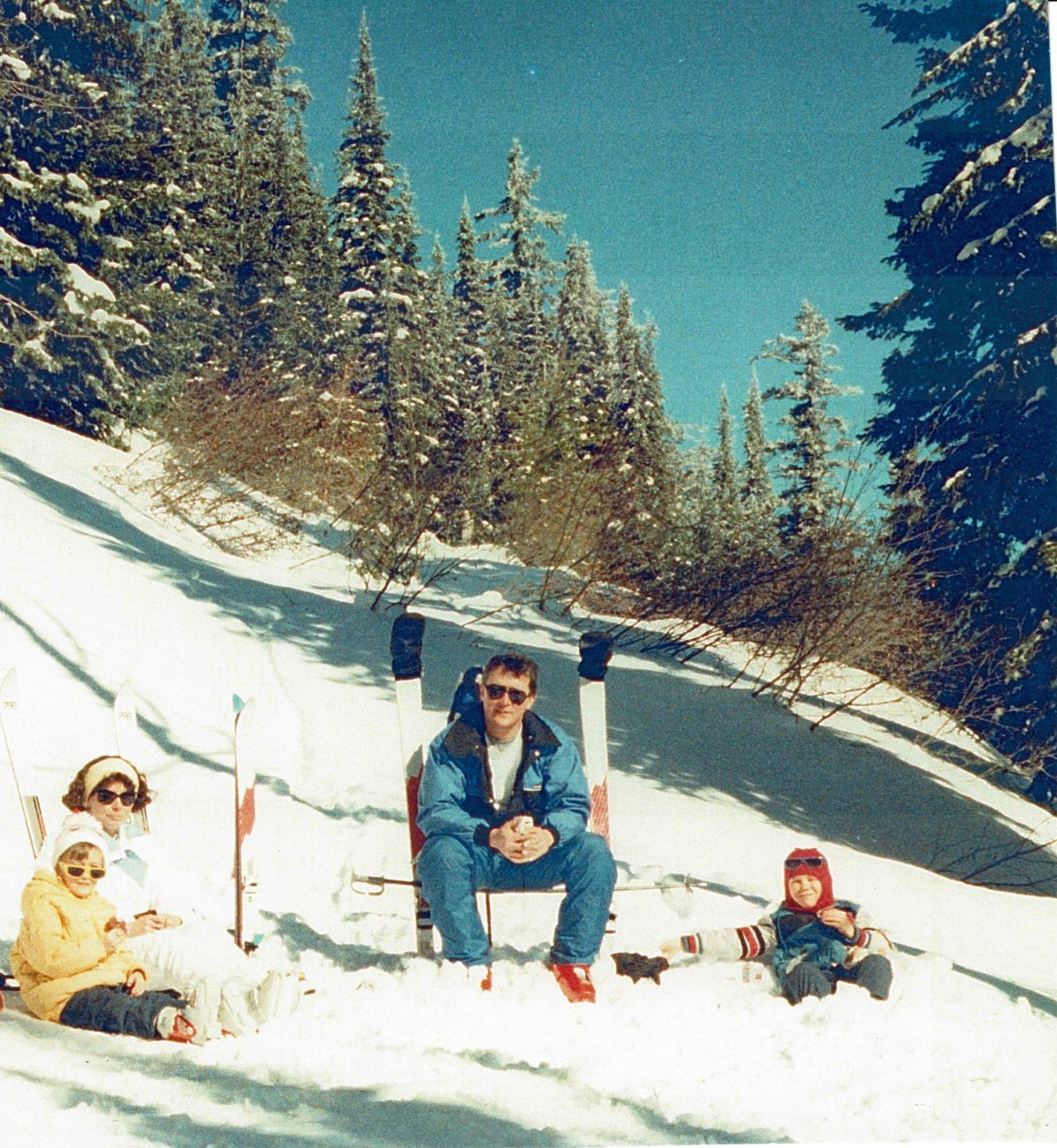 Dana, Kim, Craig, and Mike at Mt. Spokane, 1988, on Swede's Folly run. // Photo courtesy of Kim Lukes